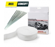 Pack stripe thermal white for exhaust manifold 10MX5CM and kit of 10 stainless steel band clamps