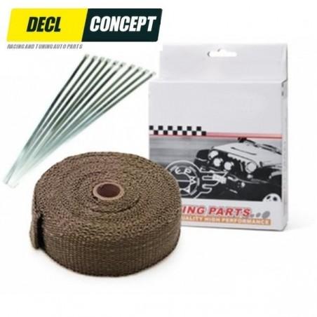 Pack bande thermique Titane 2000 degrés pour collecteur d'échappement et kit de 10 colliers inox