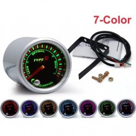 Manometer, in de verhouding lucht/benzine mengsel (AFR) 52mm 7 kleuren