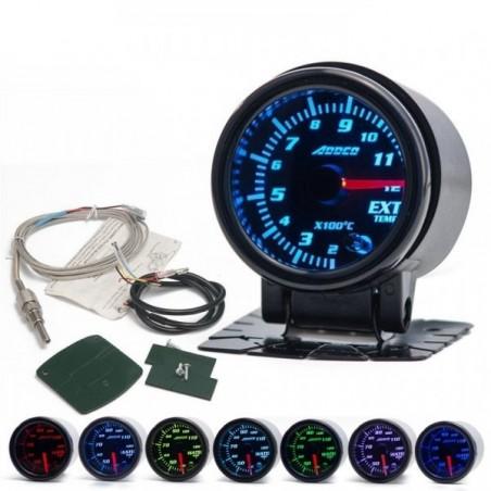 Manomètre température d'échappement (EGT) 52mm 7 couleurs programmables + sondes + support