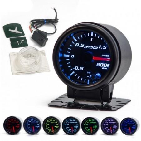 Manomètre pression de turbo 52mm 7 couleurs programmables + sondes + support